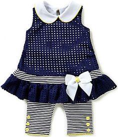 Bonnie Baby Baby Girls 12-24 Months Laser Cut Drop Waist Dress & Capri Legging Set
