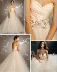 Goregous blush tone Lazaro gown. Pink, princess, bejeweled-- you can't go wrong