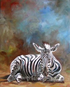 Snoozing in the Sun, original oil painting of an Zebra by Canadian Artist Kindrie Grove by KindrieGroveStudios on Etsy