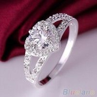 Wish | Women Chic 925 Sterling Silver Crystal Heart Shaped Love Wedding Ring Size 8 (Size: 8, Color: Silver)