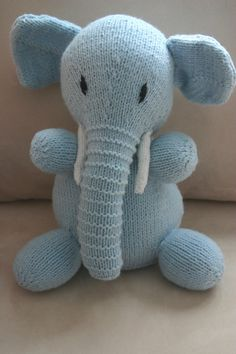 Hand knit toy Buddy the blue Elephant by MyLooseThreads on Etsy, $30.00
