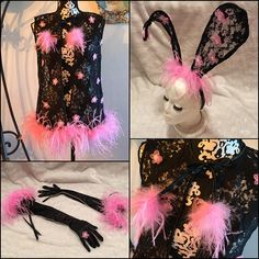 Black and Pink Vintage Ostrich Feather Bed Jacket Vest Robe