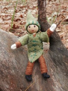 """Miniature Waldorf Inspired Leaf Man - Bendy Doll - Elf Doll – Wildflower Innocence Toys...Dressed in a green leaf with a sweet elfin cap, he's sure to bring hours of fun. He stands 3 1/4"""" tall from foot to head."""