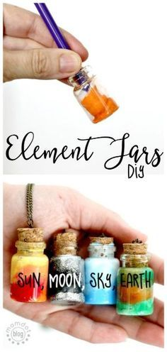 Element Jars: Create Sun, Moon, Earth, and Sky in these fun DIY Element Jar Necklaces Tutorial, picture instructions, Nebula Jar by audrey