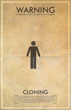 Cloning Warning Poster // Fringe Science Illustration Poster // Vintage Science Fiction Wall Art