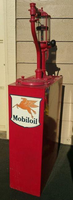 Vintage RARE RESTORED Red Mobiloil Gas Pump Lubester Bennett High-Boy MFG