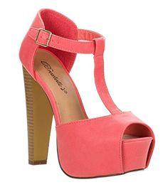 Breckelles Women's BRINA Peep Toe High Heel T-Strap Platform Sandals GF 8.5 - http://all-shoes-online.com/breckelles/8-5-b-m-us-breckelles-womens-brina-peep-toe-high-heel-7
