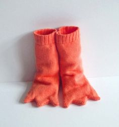 For baby??  More like For ME!!!!!   Bird Leg Knitted Booties, Handmade Baby Costume - Long and Orange via Etsy