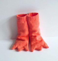 Bird Leg Knitted Booties, Handmade Baby Costume - Long and Orange via Etsy
