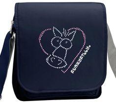 Sparkly Horse Heart Girls Cross Body Shoulder Bag Navy Blue