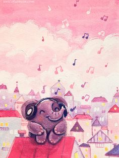 Music Lover - Rondy the Elephant listening to music on the roof by Oksancia, via Flickr
