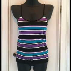 Tank Top Size L Striped tank top.  Spandex type material No Boundaries Tops Tank Tops