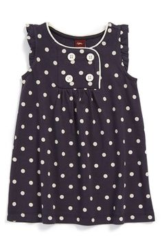 Tea Collection 'Pünktchen' Flutter Sleeve Dress (Toddler Girls, Little Girls & Big Girls)