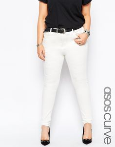 ASOS CURVE Libson Skinny Mid Rise Jeans in Valencia Off White