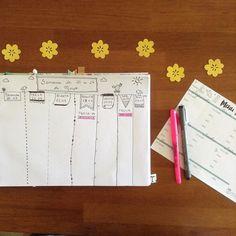 Organizando... Ou pelo menos tentando! 😅🌼🍃💛 #menudasemana #organizacao #organization #bulletjournal #bujo #bujobrasil #planner #semanaorganizada #desenho #drawing #magnolia #magnoliacriacoes #estudiomagnolia #designerdaniela