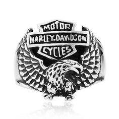 Harley Icon Eagle Titanium Ring For Men