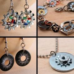 Jewelry made from hardware scraps.
