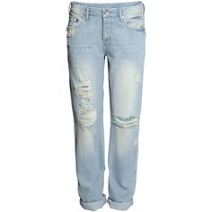 H&M Boyfriend Low Jeans (175 ARS) ❤ liked on Polyvore featuring jeans, pants, bottoms, h&m, light denim blue, boyfriend jeans, tapered leg jeans, low rise jeans, button fly jeans and h&m jeans