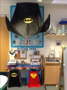 Superhero writing area- inspiring boys to write- clipboards to take away Superhero Writing, Superhero School, Superhero Classroom Theme, Classroom Themes, Classroom Design, Superhero Capes, Classroom Environment, Year 1 Classroom, Early Years Classroom