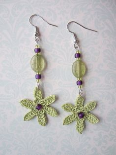 crochet earrings flower earrings dangle earrings crochet jewelry crochet flowers crocheted earrings jewelry mothers day gift bridal | http://coolearringscollections877.blogspot.com