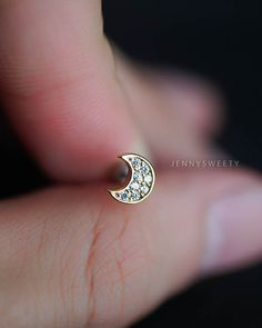 cartilage earring, tragus earring, cartilage piercing, tragus piercing 16g, cartilage stud, conch piercing, conch earring, CZ gold moon