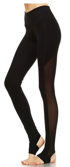 This athletic full leggings features stirrup cutouts at the heel and banded waistband for an effortless fit, with mesh panel on the side of each legRecommended Stirrup Leggings, Yoga Leggings, Black Leggings, Workout Wear, Workout Pants, Workout Outfits, Athleisure Wear, Active Wear For Women, Wholesale Clothing