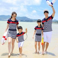 Family Set Dress/Clothing Set Clothes for Mother and Daughter Father Son Girls Dress Clothes Boys Clothing Set (Navy/White) LB18