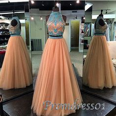 Unique high neck two pieces prom dress, blush pink long junior prom dress www.promdress01.c... #coniefox #2016prom