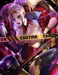 Anime 1236x1600 Sakimichan realistic Harley Quinn Batman