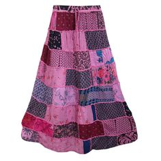 Mogulinterior Womens Hippie Gypsy Skirt pink Patchwork Casual Wear Long Maxi Summer Peasant Skirts