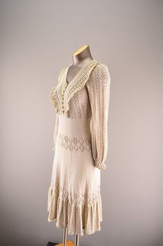 1970s crochet dress / Vintage dress / 70s knit dress by melsvanity, $98.00