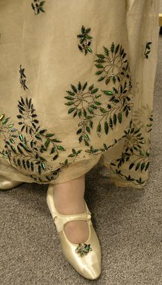 Victorian Beetle Wing Dress and matching shoes
