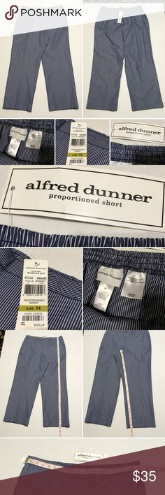 New Alfred Dunner proportioned short stripes sz14G New Alfred Dunner proportioned short stripes  Size 14. G Enjoy the relaxed styling of pants by Alfred Dunner. Product Description Fit: proportions Short Leg Style: Straight Leg Features: Flat front/Elastic back Waist Style: Sausalito  Detail: front darts gives silhouette shape  Number of Pockets: 2 Fabric Content: Rayon blend  Closure Type: Elastic, Pull On Pockets: Side Slip Pocket(s) Front Style: Flat Front, Easy wear easy care Smoke and…