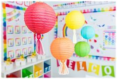 Hello Sunshine – SchoolgirlStyle www.schoolgirlsty… rainbow classroom decor, unicorn classroom theme, classroom organization, teacher desk, bulleti… - New Deko Sites Classroom Decor Themes, Preschool Classroom, Future Classroom, Classroom Ideas, Kindergarten, Rainbow Palette, Rainbow Theme, Rainbow Bulletin Boards, Teacher Desk Organization