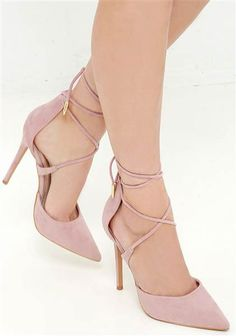 The LULUS Michele Dusty Rose Lace-Up Heels are magic in the making! Soft vegan suede composes a split, pointed-toe upper with a high-rise heel back. Crisscrossing laces wrap around the ankle and are finished in shiny gold aglets. High Heel Pumps, Pumps Heels, Stiletto Heels, Caged Heels, Nude Heels, Platform Pumps, Cute Shoes, Me Too Shoes, Mode Adidas