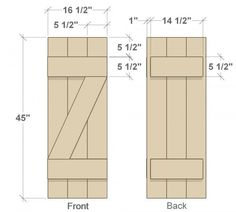 DIY shutters ~front and back dimensions