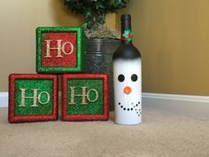 A personal favorite from my Etsy shop https://www.etsy.com/listing/474980360/frosty-the-snowman-upcycled-wine-bottle