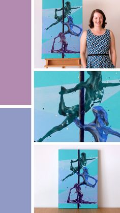 'Totem Polers' is a pole dance resin figure painting on canvas. The trio of aerialists are stacked in three different positions on the pole Resin Paintings, Pole Dance, Figure Painting, Figurative, Dancer, Shapes, Canvas, Artwork, Image