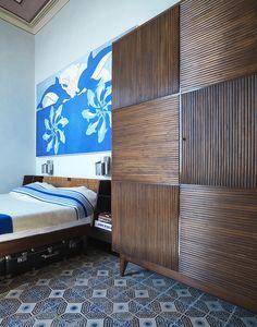 La chambre d'un appartement du XIXe siècle tout en fresques et en terrazzo à Gênes © Antonio Maniscalco (AD N°124 juin-juillet 2014)