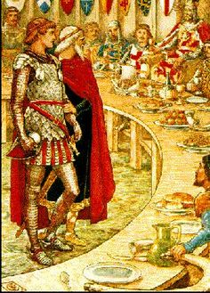 Cottage Charm ~ Camelot ~ Sir Galahad is Brought to the Court of King Arthur - King Arthur's Knights: The Tales Re-told for Boys & Girls. King Arthur Legend, Legend Of King, Art Nouveau, Medieval Art, Medieval Times, King Arthur's Knights, Excalibur, Courtly Love, Mists Of Avalon