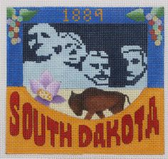 Denise DeRusha Designs South Dakota Hand Painted Needlepoint Canvas 18 count
