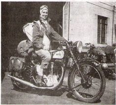 This is Theresa Wallach, heading out on what looks to be a fun roadtrip...   Read up on her story via this photo.  Eventually, Wallach opened her own motorcycle dealership specializing in British machines.