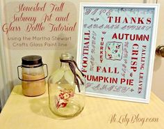 DIY Autumn Crafts :DIY Fall Crafts :Stenciled Glass Fall Subway Art with Martha Stewart Crafts