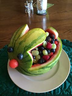 Carve a watermelon into a bunny. Use blueberries for eyes and a watermelon ball for the nose.
