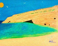 Greece 8 x 10 Island Crete Iraklion Beach Ocean Landscape Travel Print Tan Blue Green Pastel Gorgeous Artist George Papadantonakis Peaceful by Concepts2Canvas on Etsy