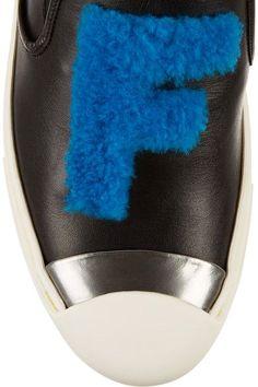 Fendi - Faux Shearling-trimmed Leather Slip-on Sneakers - Black - IT35.5
