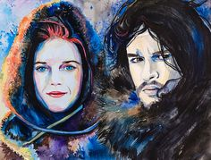 Game of Thrones Jon Snow Ygritte   watercolor  by SlaviART on Etsy, $25.00