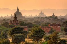 "Pagoda in Bagan, Myanmar ""Bagan is an ancient city located in the region of Mandalay in Myanmar. Chart shape resembling temples, pagodas and stupas. Here there is no major temples such as Borobudur and Prambanan, Indonesia."""