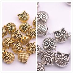 PJ713 8pc Antique Bronze Charm owl Spacer Beads accessories wholesale Art & Craft Supplies jewellery making supplies