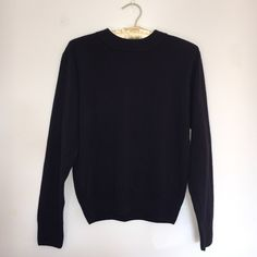 Dark Blue Sweater In great condition: not holes, stains, or rips. This sweater is super soft and comfy, with a high neckline. Size M but it's a petite and fits me (I'm size small) Sag Harbor Sweaters Crew & Scoop Necks